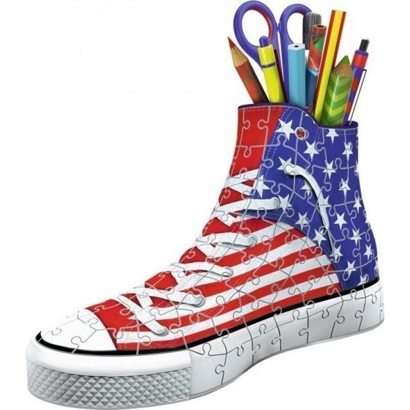 Ravensburger -  3D Puzzle 108 pcs Sneaker American Flag Pen Holder with Candle - 12549
