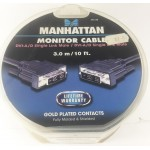 MANHATTAN MONITOR CABLE DVI-A-D GOLD PLATE CONTACTS 3M 391238
