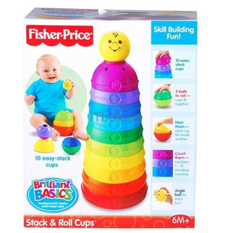 FISHER PRICE - BRILLIANT BASICS STACK AND ROLL CUPS (W4472)