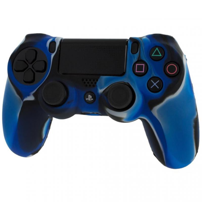 Pro Soft Silicone Protective Cover with Ribbed Handle Grip [Camo Dark Blue] - PS4