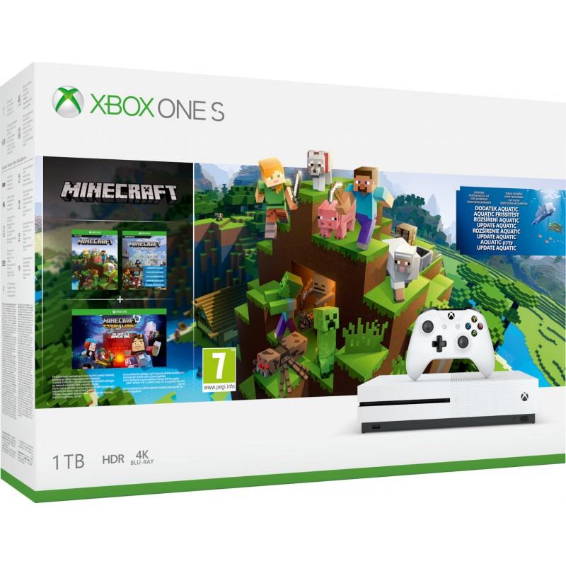 XBOX1 Microsoft Xbox One S Console 1TB and Minecraft Aquatic