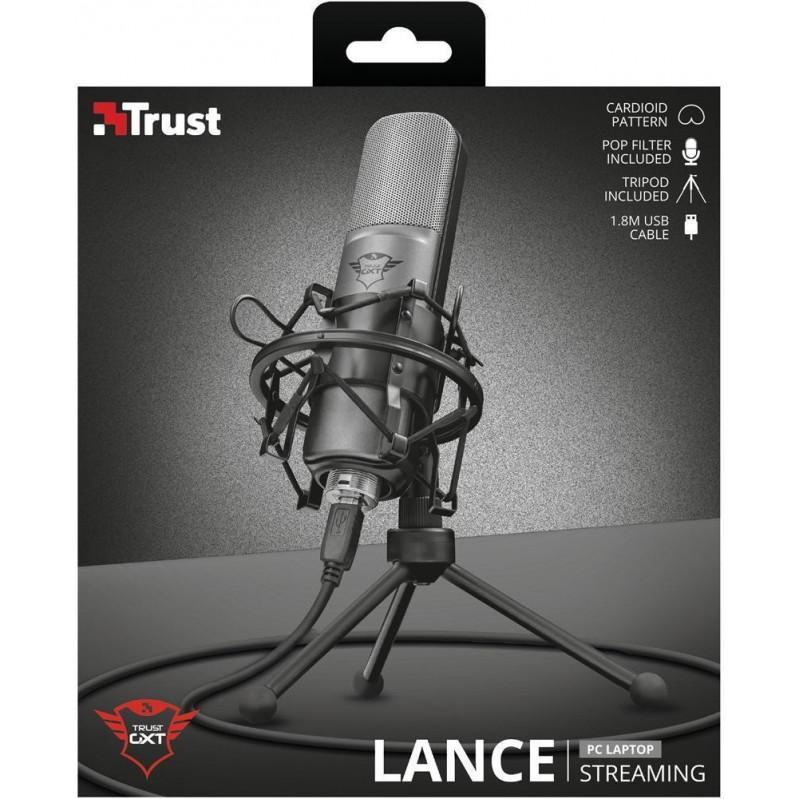Trust Gaming GXT 242 Lance Streaming USB-TischMicrophone - Black - 22614 (casek) 50251