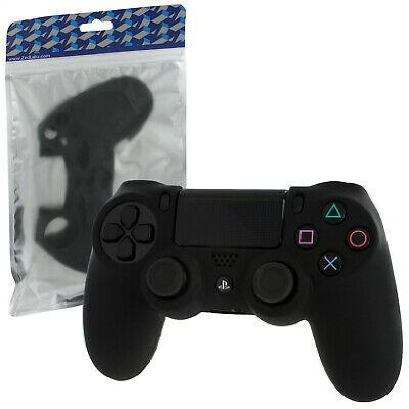 Pro Soft Silicone Protective Cover with Ribbed Handle Grip [Black] - PS4 (CRD) 47802
