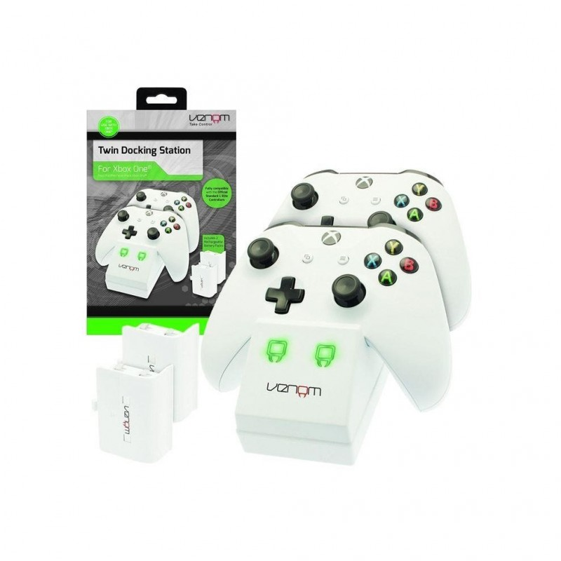 Venom Twin Charge Docking Station with 2x Rechargeable Battery Packs (White) - Xbox One